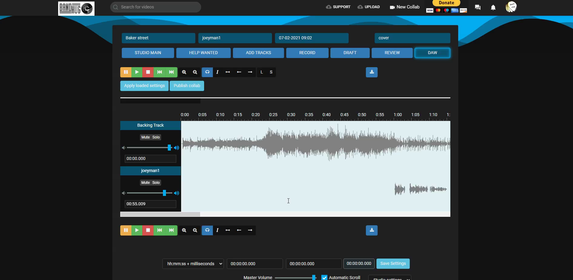 Use Daw to sync your track.